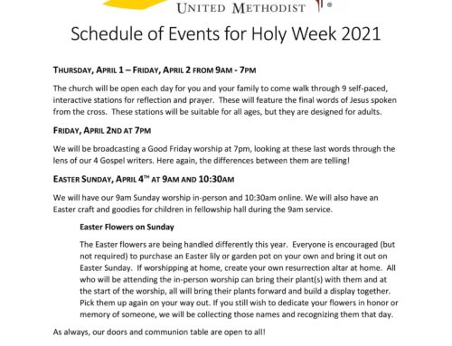 Bethel, Holy Week Schedule!
