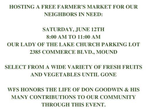Westonka Food Shelf, FREE Farmer's Market!