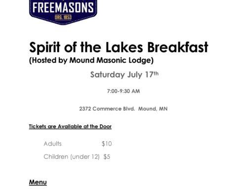 Mound Masonic Breakfast, During Spirit of the Lakes
